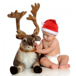 Kid with stuffed reindeer
