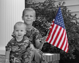 Kids Patriotic Photo-American Flag