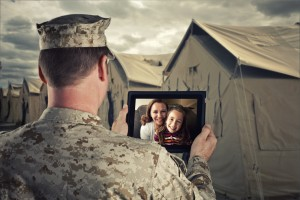 Soldier chats with family computer